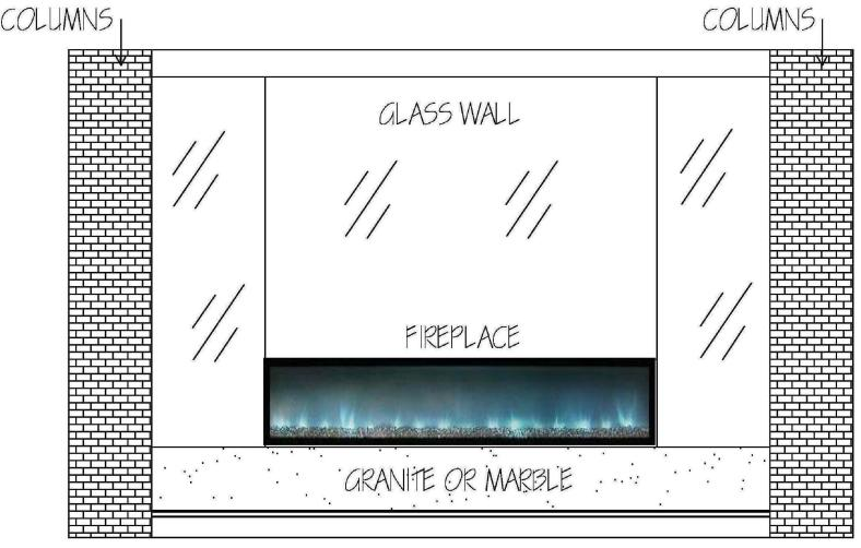Our original design for the fireplace wall.  --all glass!