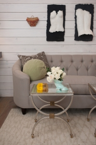 Tufted sofa, pair of cocktail tables, wonderful artwork and pillows - horizontal white wash panels
