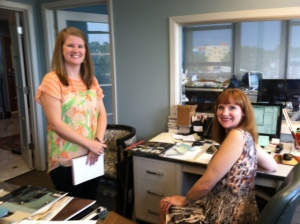 Kacey Clark, our new staff designer on the left, shown with Penny Tant, senior designer.