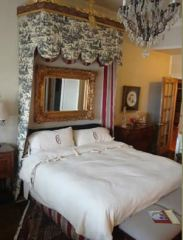 Chateaux Blessey room with toile canopy.